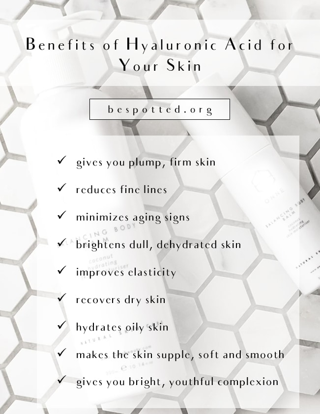 An infographic showing the benefits of hyaluronic acid for skin