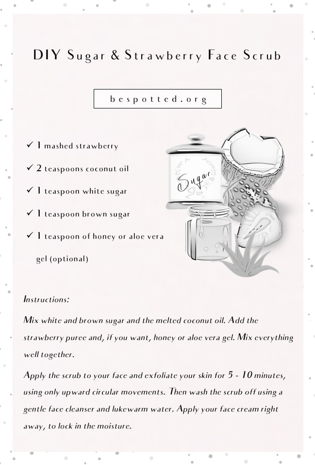 An infographic showing a recipe for DIY strawberry-sugar scrub for face skin