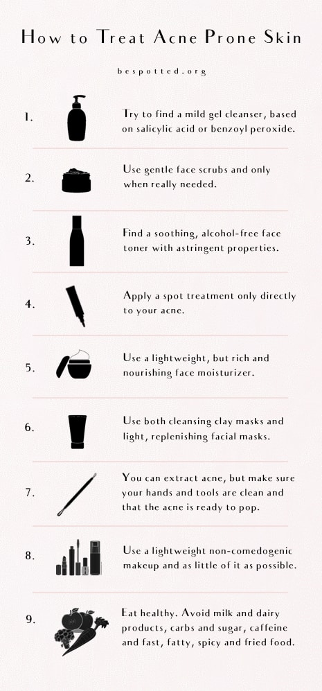 An infographic showing step by step how to get rid of acne