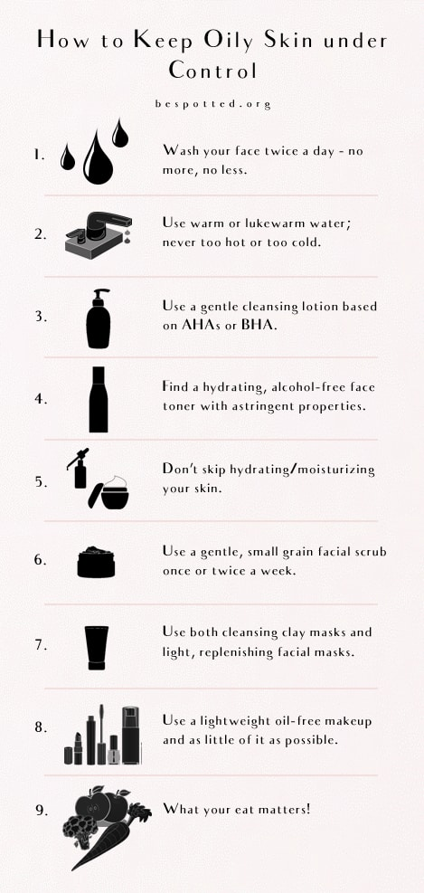 An infographic showing step by step how to treat oily face skin