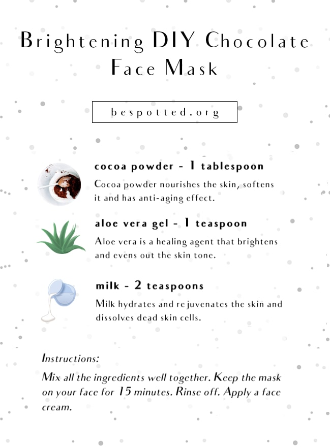 An infographic showing a recipe for Brightening Chocolate & Aloe Vera Face Mask