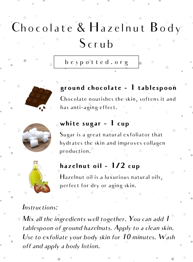 An infographic showing a recipe for Chocolate & Hazelnut Body Scrub