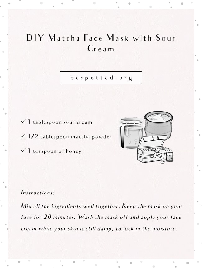 An infographic showing a recipe for DIY Matcha Face Mask with Sour Cream