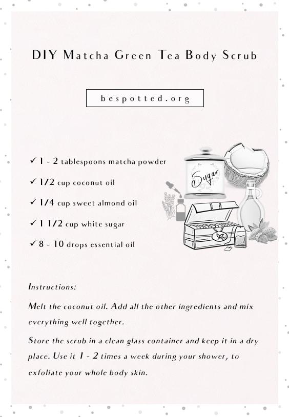 An infographic showing a recipe for DIY Matcha Green Tea Body Scrub