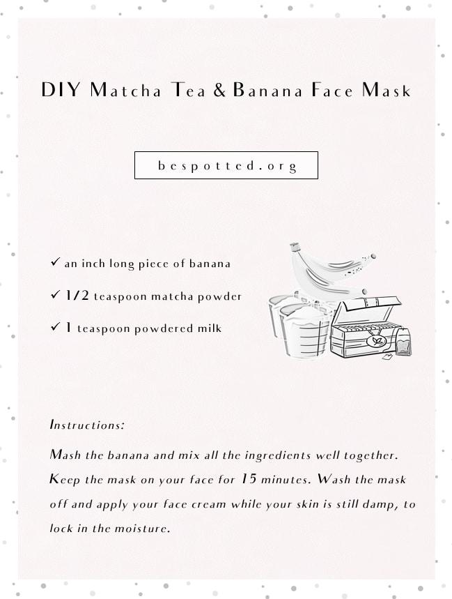 An infographic showing a recipe for DIY Matcha Tea & Banana Face Mask