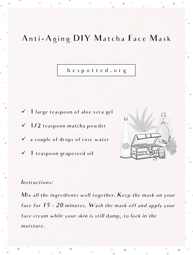 An infographic showing a recipe for Anti-Aging DIY Matcha Face Mask