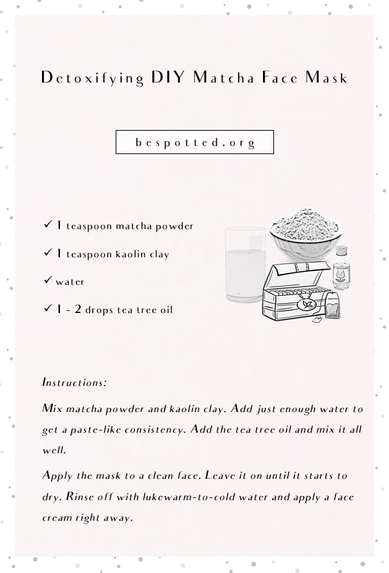 An infographic showing a recipe for Detoxifying DIY Matcha Face Mask