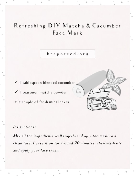 An infographic showing a recipe for Refreshing DIY Matcha & Cucumber Face Mask