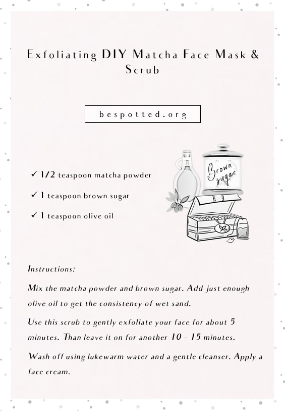 An infographic showing a recipe for Exfoliating DIY Matcha Face Mask & Scrub