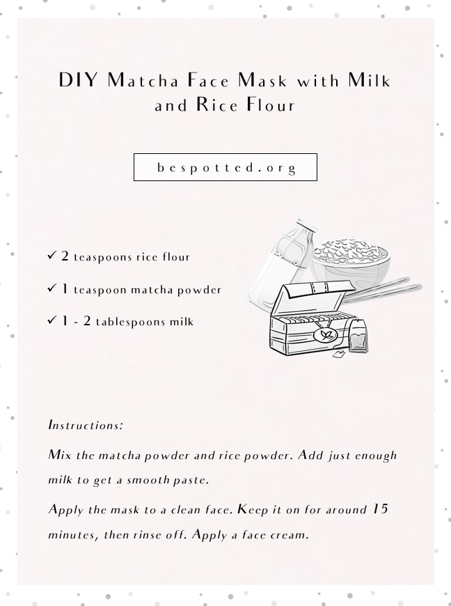 An infographic showing a recipe for DIY Matcha Face Mask with Milk and Rice Flour