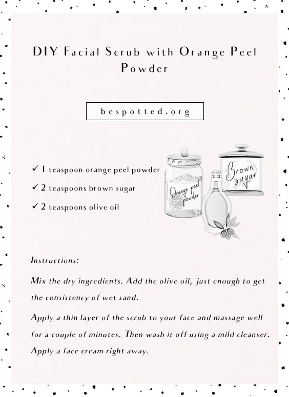 An infographic showing a recipe for DIY Orange Peel Facial Scrub
