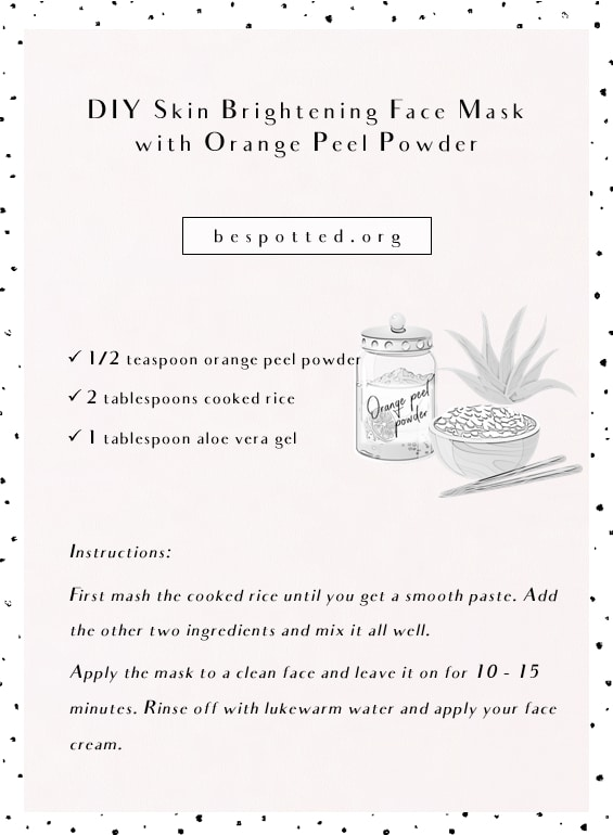 An infographic showing a recipe for DIY Skin Brightening Face Mask with Orange Peel