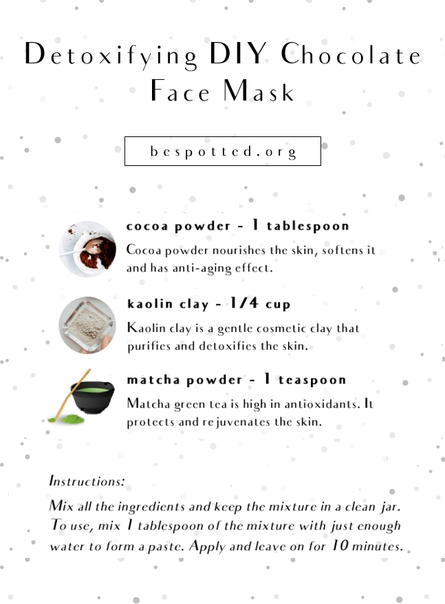 An infographic showing a recipe for Detoxifying DIY Chocolate Face Mask