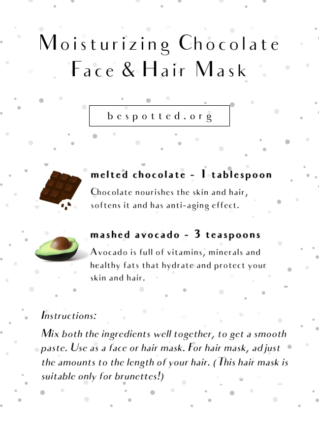 An infographic showing a recipe for Moisturizing Chocolate Face & Hair Mask