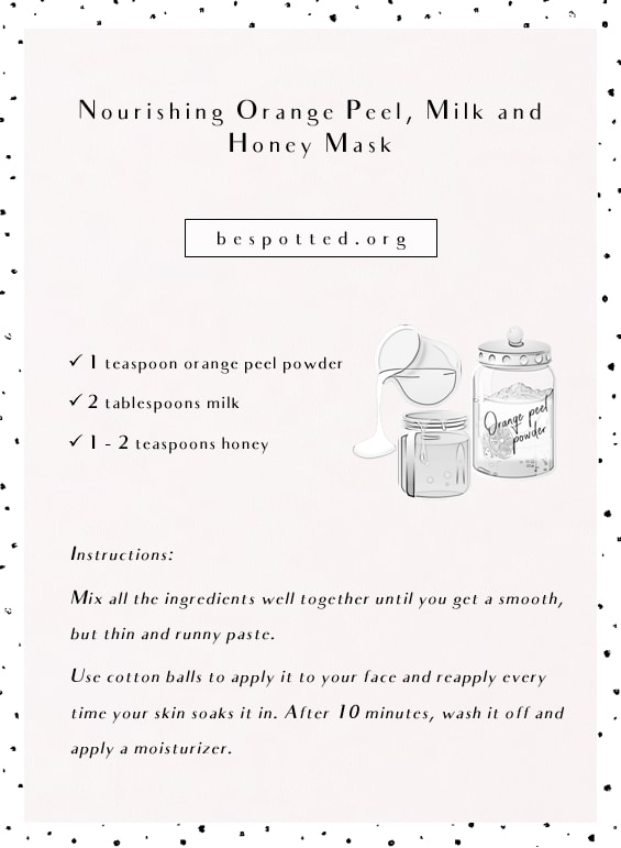Recipe for Nourishing Orange Peel, Milk and Honey Mask - Infographic