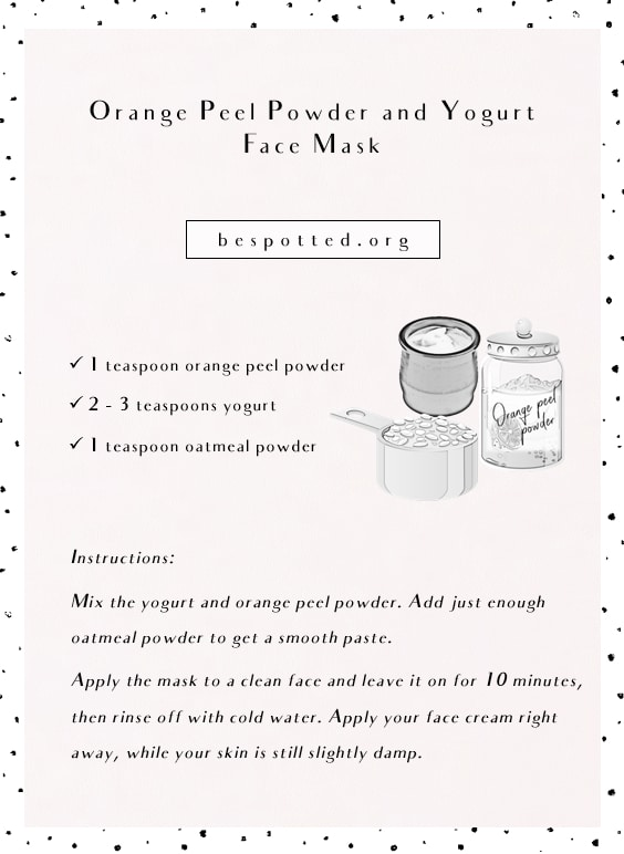 Orange Peel Powder and Yogurt Face Mask - full recipe infographic