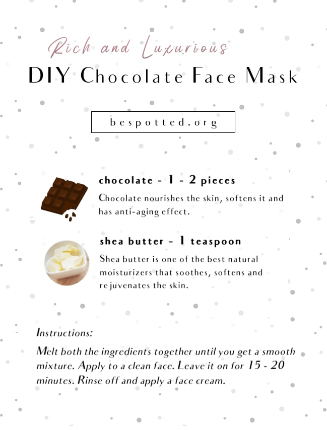 An infographic showing a recipe for Rich and Luxurious Chocolate Face Mask