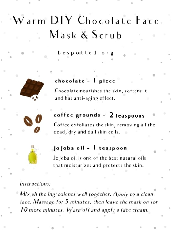 An infographic showing a recipe for Warm Chocolate Face Mask & Scrub