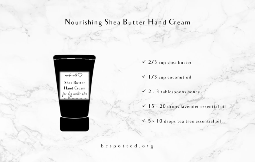 An infographic showing how to make nourishing shea butter hand cream