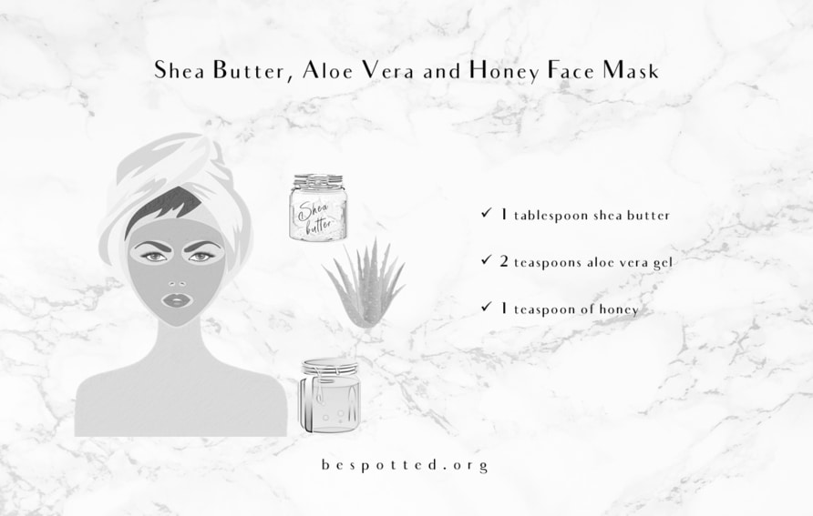 An Infographic showing the recipe for DIY Shea Butter, Aloe Vera and Honey Face Mask