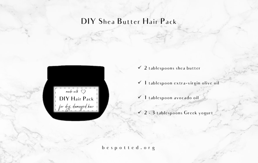 An infographic showing a recipe for natural shea butter hair pack