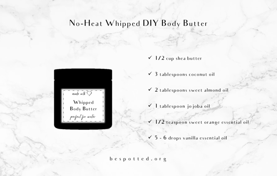 A list of ingredients for a no-heat DIY whipped body butter