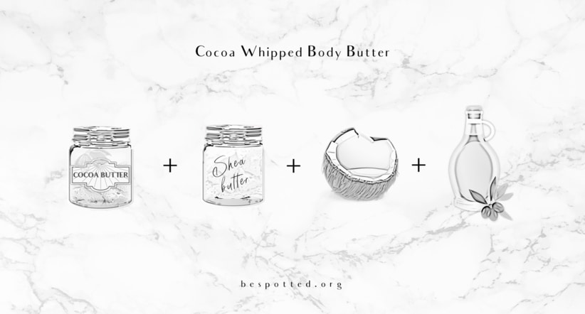 all the ingredients for Cocoa Whipped Body Butter