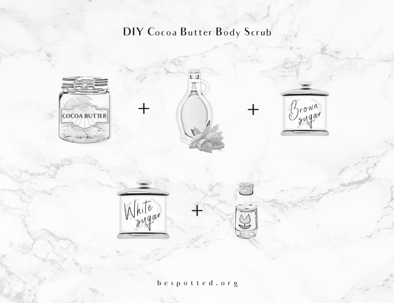 The ingredients for DIY cocoa butter body scrub