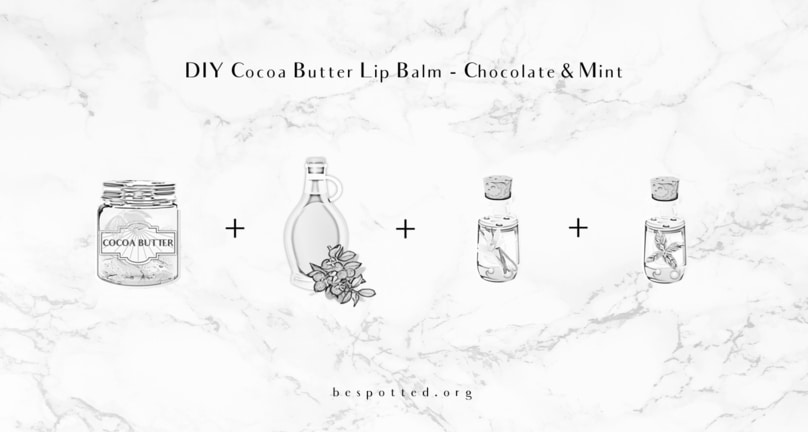 The ingredients for DIY Cocoa Butter Lip Balm