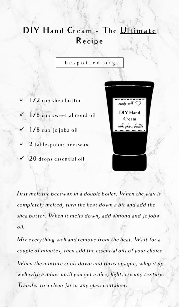An infographic showing a recipe for DIY hand cream