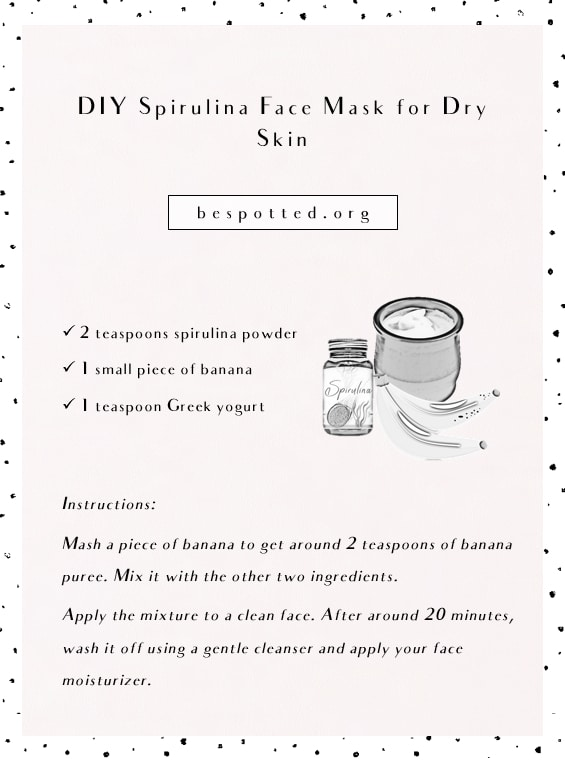 Instructions on how to make DIY spirulina face mask for dry skin