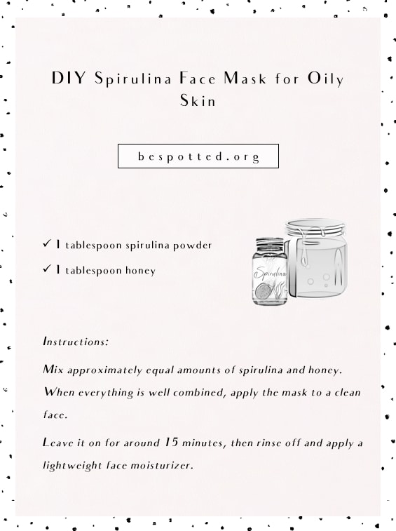 Infographic showing a recipe for DIY face mask with honey and spirulina powder