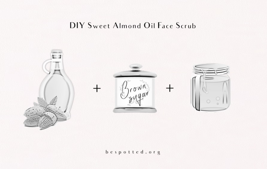 All the necessary ingredients for DIY Sweet Almond Oil Face Scrub
