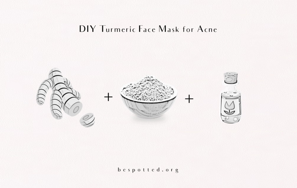 The ingredients for DIY Turmeric Face Mask for Acne - turmeric, kaolin clay and tea tree oil