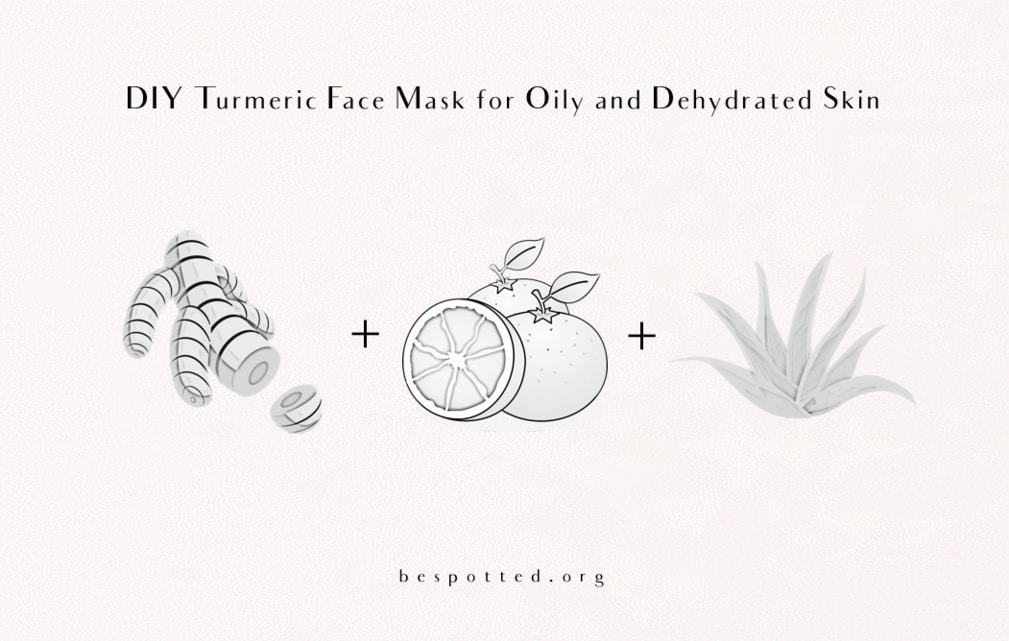 The ingredients for DIY Turmeric Face Mask for Oily and Dehydrated Skin - turmeric, oranges and aloe vera