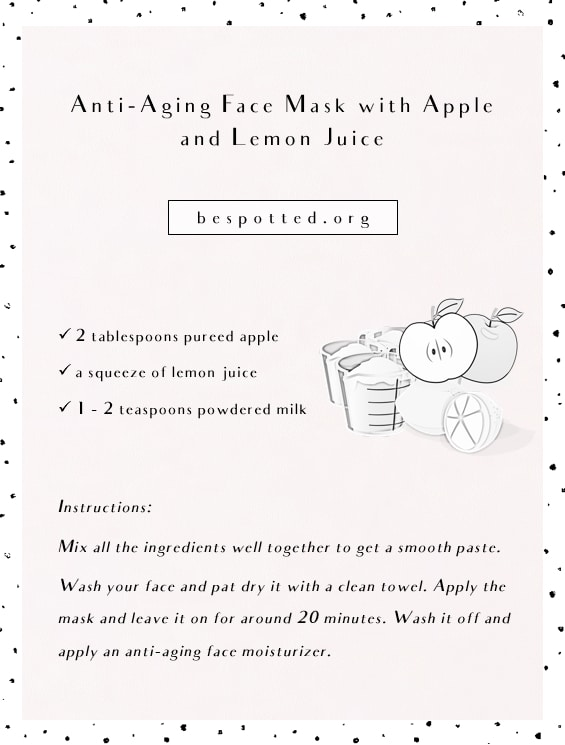 Homemade Anti-Aging Face Mask with Apple and Lemon Juice - infographic