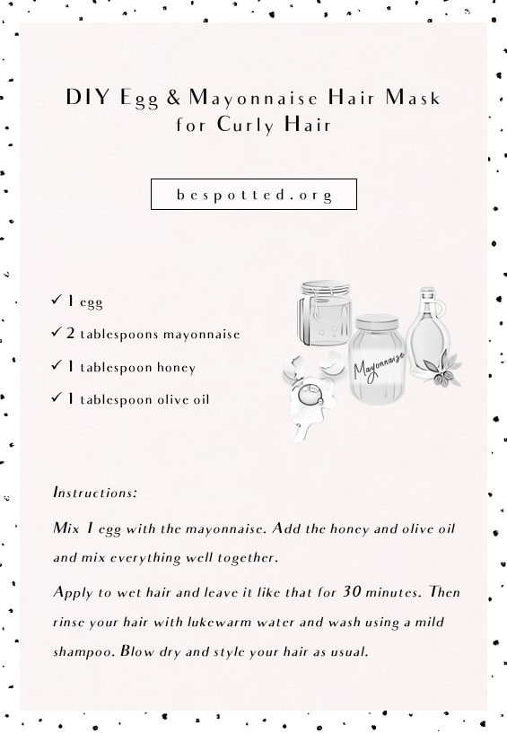 Recipe for DIY Egg & Mayonnaise Hair Mask for Curly Hair