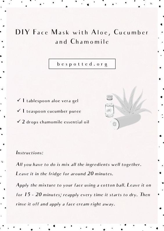 Instructions on how to make DIY Face Mask for Sensitive Skin with Aloe, Cucumber and Chamomile