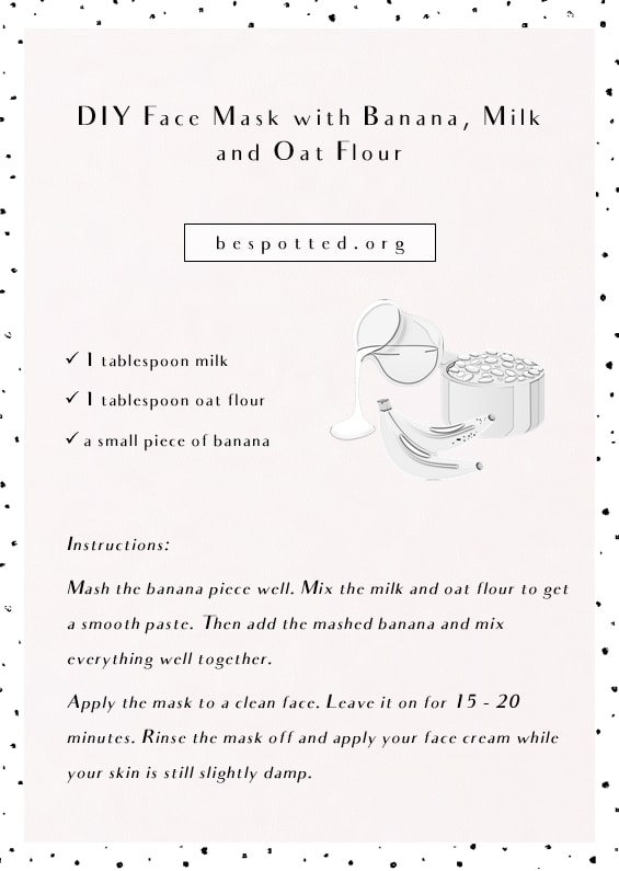 An infographic showing a recipe for DIY face mask with banana, milk and oat flour