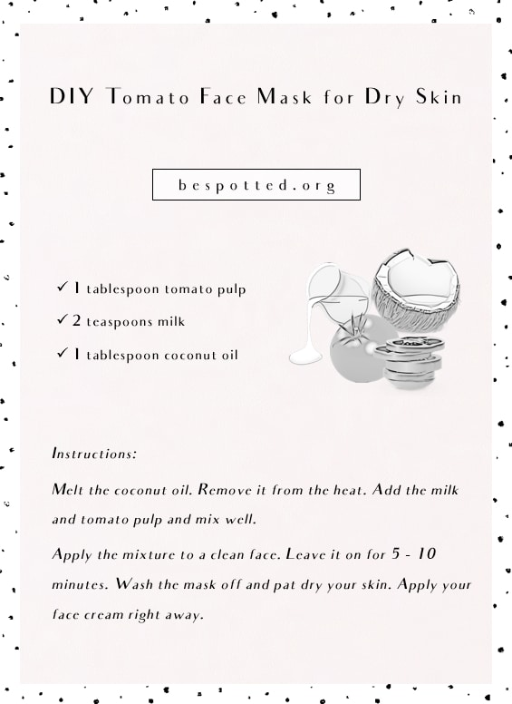 An infographic showing a recipe for DIY Tomato Face Mask for Dry Skin