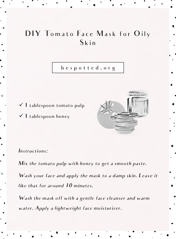 An infographic showing a full recipe for DIY face mask for oily skin with tomato and honey
