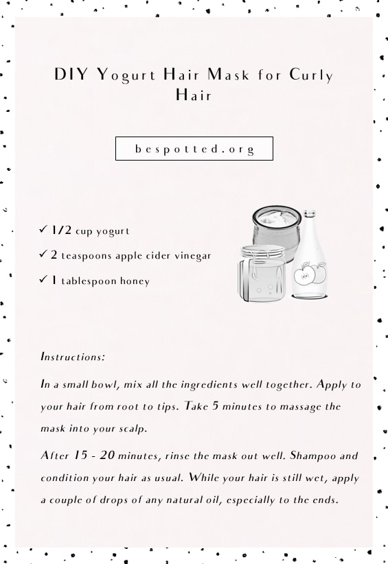 Instructions on how to make DIY Yogurt Hair Mask for Curly Hair