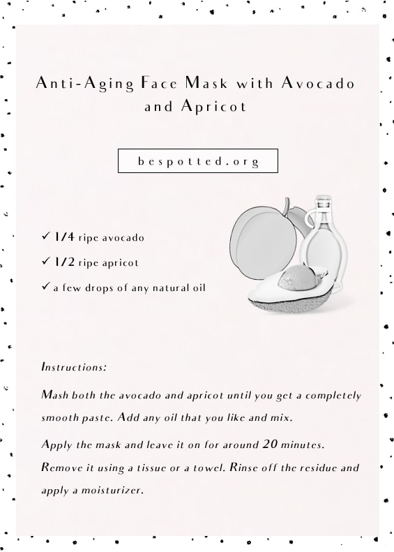 An infographic for Homemade Anti-Aging Face Mask with Avocado and Apricot