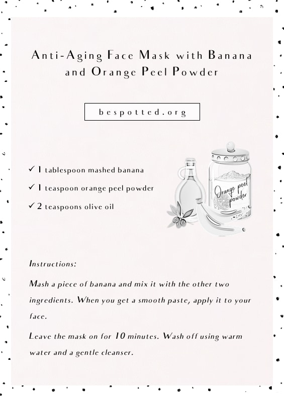 An infographic for Anti-Aging Face Mask with Banana and Orange Peel Powder