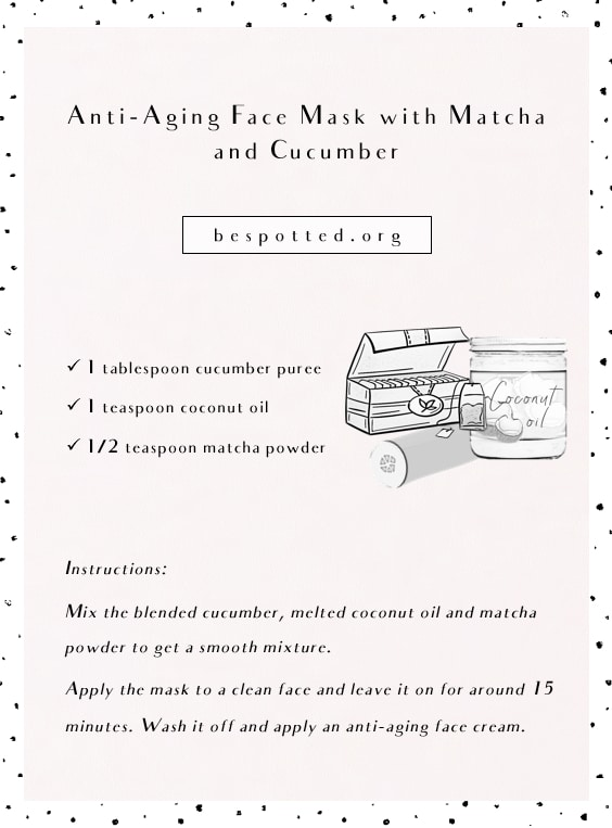 Homemade Anti-Aging Face Mask with Matcha and Cucumber - infographic