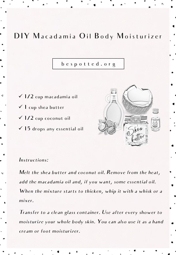 An infographic showing a recipe for DIY Macadamia Oil Body Moisturizer