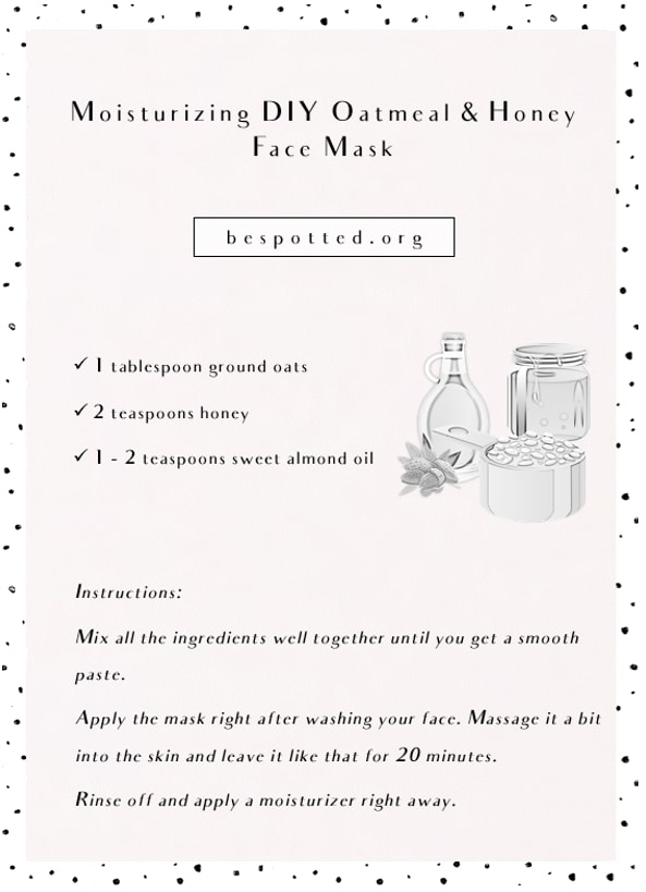 Infographic showing a recipe for Moisturizing DIY Oatmeal Face Mask