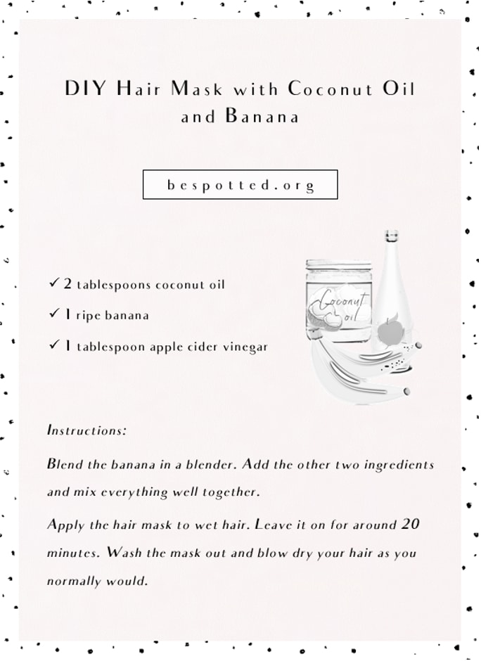 DIY Hair Mask with Coconut Oil and Banana - recipe infographic