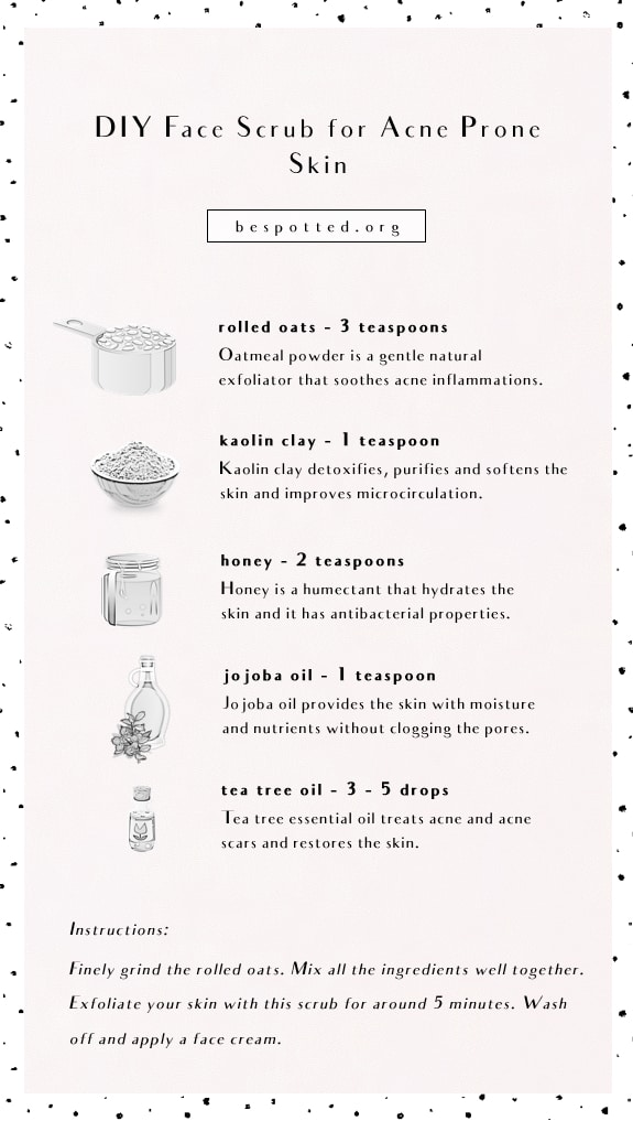 An infographic showing a full recipe for DIY acne face scrub