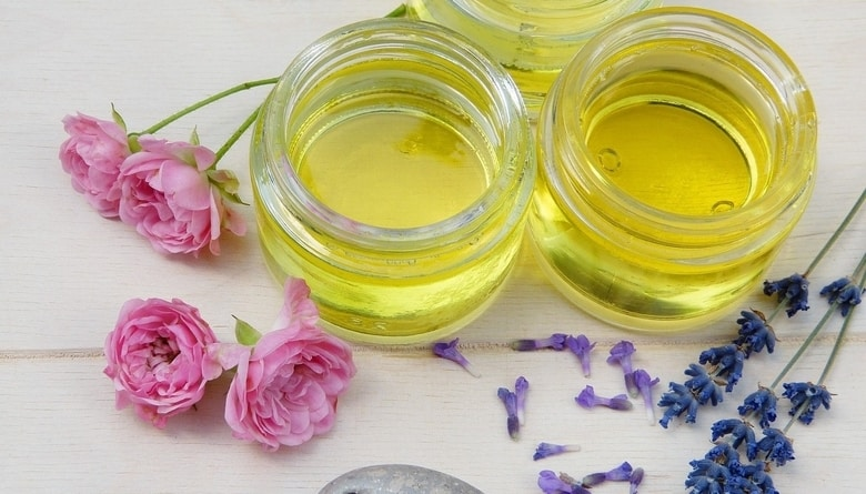 Three small jars of DIY nail oil